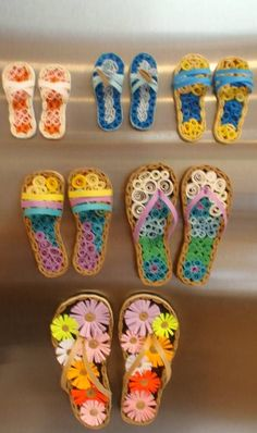 Fun-Flipflops Quilled Creations by Agatha - These are backed with magnets to hang on the fridge.