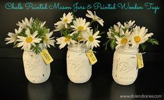 Spring Décor: Chalk Painted Ball Mason Jars & Painted Wooden Tags (the numbers on the tags are birthdays) {Dolen Diaries}