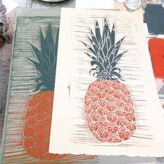 Printmaking. Pineapple first pull. Linoleum block print