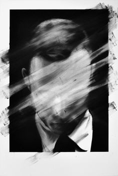 """Valentin van der Meulen, a French artist, has made in 2012 and 2013 two beautiful series of portraits called """"Unseen"""" et """"Untitled"""". The artist turns his black and white portraits into abstract artworks in which he destroys the identity and the faces' features of each person thanks to charcoal and black stone."""