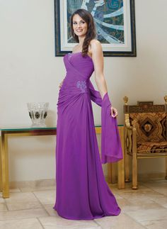 Strapless chiffon dress for mother of the bride with dropped waist