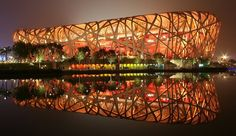 The Ai Weiwei stadium, better known as the Birdsnest in Beijing. By Herzog & de Meuron.