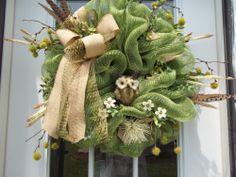 Primitive~Owl~Mesh~ Door  Wreath~Double Burlap & Open Weave Bow  #Handmade