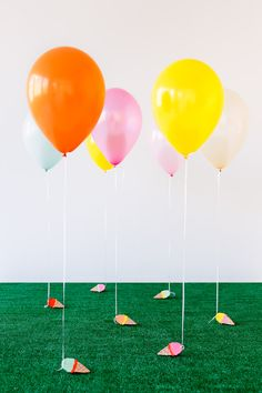 DIY Helium balloons with weights. Geared for kids, but...ya know