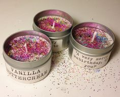 Unbirthday Cake Eco-Friendly Handmade Soy Candle by CrimsonCloverCandles  Vegan, USA grown soy [wax], lead free wicks  Alice in Wonderland themed  -  'A very merry unbirthday, to you!'  Smothered in glitter.
