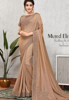 brown tusser silk embroidered wedding saree 11405 Fancy Sarees, Party Wear Sarees, Indian Wedding Outfits, Indian Outfits, Pearl Work Saree, Indian Sarees Online, Traditional Sarees, Traditional Clothes, Work Sarees