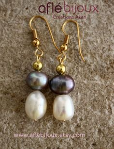 Aflé Bijoux Sweet Water Pearls Earrings  Anthracite #aflebijoux #bijoux #jewelry #etsy