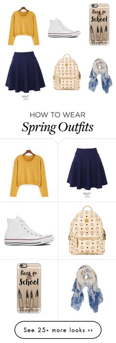 """Spring school outfit"" by arl1118 on Polyvore featuring QNIGIRLS, Converse, MCM, Casetify and Humble Chic"