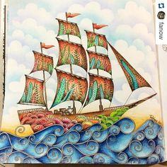 Navio lindíssimo by @fanow ・#oceanoperdido #desenhoscolorir #lostocean…