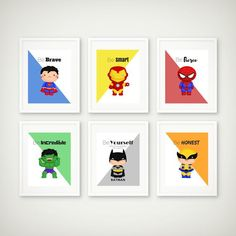 Superhero Print Set of 6, Superhero Wall Art, Boys Room, Superhero Art, Superman Print, Batman Print, Super Hero Art, Instant Download