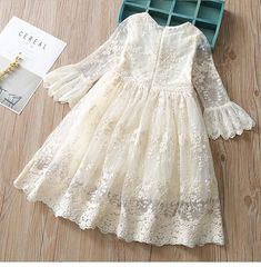 Kids Christmas Cosplay Costume Spring summer autumn baby girl dress fashion princess Lace embroidery girl cotton dress Source by Dresses Dress For Girl Child, Girls Lace Dress, Little Girl Dresses, Girls Dresses, Lace Dress For Kids, Baby Girl White Dress, Children Dress, Cotton Frocks For Kids, Frocks For Girls