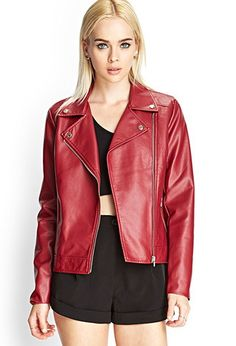 Red Faux Leather Moto Jacket | Forever 21 - 2000102523