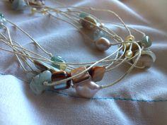 Seaside Gemstone Pearl Long Necklace by GossamerBead on Etsy