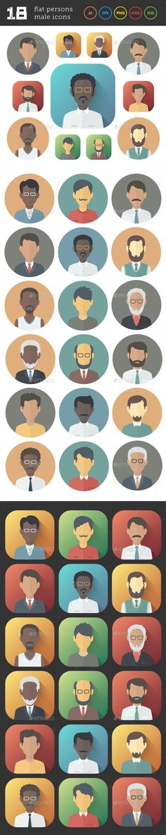Flat Icons Set of Male Persons — Transparent PNG #flat #face • Available here → https://graphicriver.net/item/flat-icons-set-of-male-persons/9333109?ref=pxcr