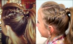 Double-French High Ponytail | I could do this lower so the ponytail sits below a helmet.