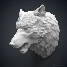 Wolf head 3d model. For 3d printing or CNC Machining
