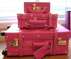 pink Parisian luggage