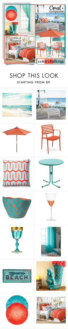 """""""Coral & Turquoise"""" by sahra-g ❤ liked on Polyvore featuring interior, interiors, interior design, home, home decor, interior decorating, Grandin Road, Pier 1 Imports, Kimoley and Half Light Honey"""