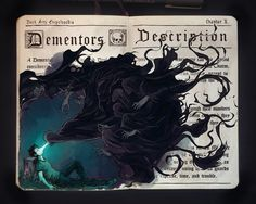 """Dementors by Picolo-kun """"Dementors are among the foulest creatures that walk this earth. They infest the darkest, filthiest places, glory in decay and despair, drain peace, hope, and happiness out of the air around them... Get too near a Dementor and every good feeling, every happy memory will be sucked out of you. If it can, the Dementor will feed on you long enough to reduce you to something like itself...soulless and evil. You will be left with nothing but the worst experiences of your…"""