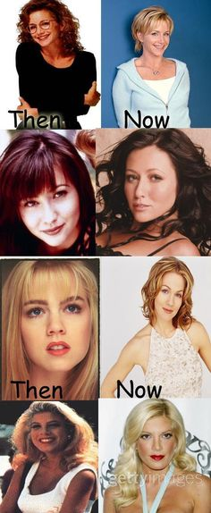 The four women of  Beverly Hills 90210 Then and now