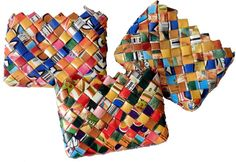made from recycled fruit juice pack... colorful original and fair trade!  www.casames.com