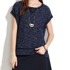 Madewell Night Sky Short Sleeve Sweatshirt NWOT never been worn madewell short sleeve sweatshirt. Would look great with ripped jeans or dressed up with leather leggings and heels. Dark navy color, soft fabric. Madewell Tops