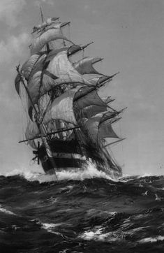 when the wind billows. Pirate Ship Tattoos, Pirate Tattoo, Ship Paintings, Seascape Paintings, Tattoo Barco, Pirate Ship Drawing, Ship Tattoo Sleeves, Bateau Pirate, Digital Foto
