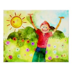Happy Boy on a Sunny day Poster - kids kid child gift idea diy personalize design