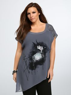 e76130a2f47 Disney Villains Collection Maleficent Asymmetrical Top. Unique Plus Size  ClothingPlus ...