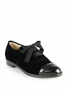 new style 2b637 9fe03 Kate Spade New York - Poppin Too Velvet   Leather Lace-Up Oxfords