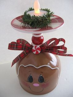 HP Gingerbread Peppermint Candy Cane Christmas Candle Holder, we don't Gingerbread Christmas Decor, Gingerbread Man Crafts, Christmas Crafts, Christmas Ornaments, Christmas Candle Holders, Christmas Candles, Christmas Centerpieces, Christmas Decorations, Christmas Wine Glasses