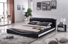 California King Size Bonded Leather Contemporary Platform Bed Frame Black/White #Doesnotapply