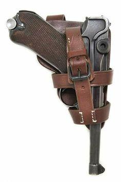 Byf-LUGER-P08-Grips-Grip-Set En bois de noyer-Checkered FACTORY SET