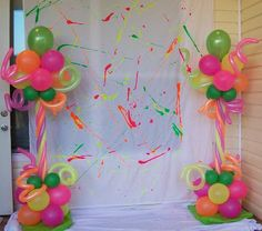 Party People Celebration Company - Custom Balloon decor and Fabric Designs: Retro's 80 Flashback Birthday Party at a Home