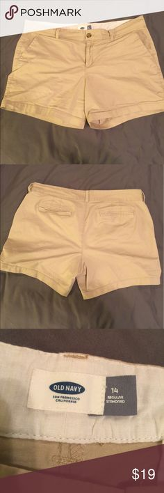 """Really cute shorts Cute (Old Navy) khaki shorts.  They in excellent condition.  They no longer fit, as I have lost weight. They are like new. 5"""" inseam. Cotton/spandex Old Navy Shorts"""