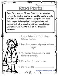 Rosa Parks Reading Passage by The Techie Teacher Reading Passages, Reading Comprehension, Comprehension Questions, Rosa Parks Timeline, History Activities, African American History, American Women, Native American, Worksheets For Kids
