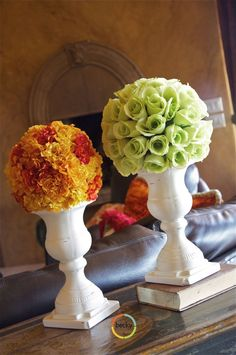 Topiary Basic supplies needed: styrofoam ball, flowers, hot glue gun Diy Flowers, Wedding Flowers, Fake Flowers, Fresh Flowers, Artificial Flowers, Styrofoam Ball, Flower Ball, Just In Case, Floral Arrangements