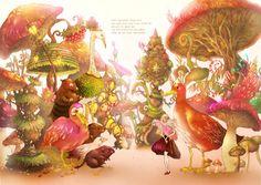 Ilustrações feitas pelo artista coreano Song Gum-Jin