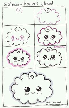 step by step how to draw a kawaii cloud learn to draw