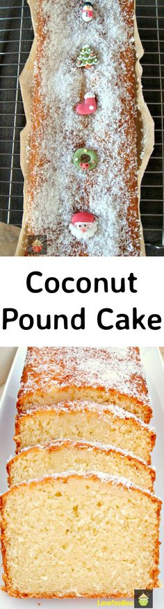 Light, soft, and oh sooooo delicious! Easy to make in to a Christmas cake too! Coconut Pound Cakes, Pound Cake Recipes, Köstliche Desserts, Delicious Desserts, Dessert Recipes, Bananas, Loaf Cake, Coconut Recipes, Sweet Bread