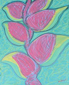 #HeliconiaRostrata #Tropical #Hawaiian #Flower AKA, #LobsterClaw or #ParrotBeak #FalseBirdofParadise #MixedMedia on stretched #canvas. #Nature #Art #Artwork #Painting #Drawing #ModernArt #ContemporaryArt