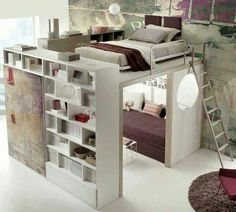 Oooohhh! This looks cool!!!! Bedroom bookshelf loft...So wish I had this growing up....