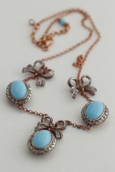 Antikstil Trachtenschmuck Dirndl Collier Halskette 925 Silber rot vergoldet mit Türkis