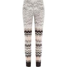 Missoni Knit Leggings ($585) ❤ liked on Polyvore featuring pants, leggings, pantaloni, multicolor, knit pants, elastic waist pants, ski leggings, white knit pants e slim fit pants