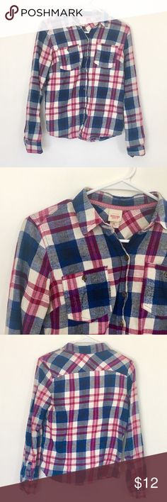Selling this FINAL PRICE Navy Blue & Pink Flannel Shirt on Poshmark! My username is: amyyarmak. #shopmycloset #poshmark #fashion #shopping #style #forsale #Mossimo Supply Co. #Tops