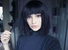 beautiful, black, bob, girl, goth, grunge, hair, make up, pretty, First Set on Favim.com
