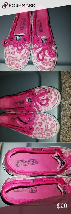 GIRLS sz 13.5 pink leopard Sperry's Some wear, see photos, but still in great shape!! So cute!! Just outgrown... Sperry Top-Sider Shoes
