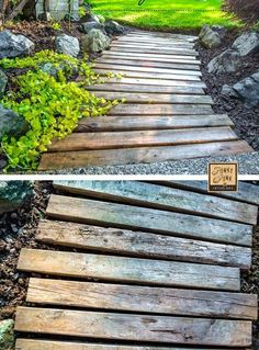pallet garden A PALLET WOOD WALKWAY or PATH in the garden gets a fresh undertaking. and made it unscathed. See how via Funky Junk Interiors Pallet Walkway, Wood Walkway, Outdoor Walkway, Pallet Pathway Ideas, Wooden Pathway, Wood Path, Walkway Ideas, Outdoor Projects, Garden Projects