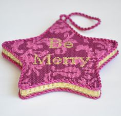 Be Merry Needlepoint Star Ornament. Kirk and Bradley Canvas.