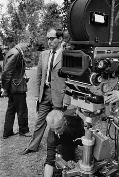 Jean-Luc Godard and Raoul Coutard on the set of Made in USA., photographed by Bruno Barbey, 1966